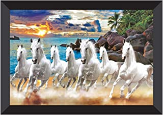 SAF 7 Running Horses Vastu UV Teatured Digital Reprint Framed Painting (11 inch X 14 inch) SANFK51