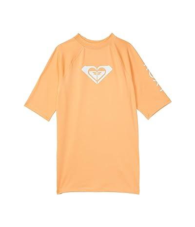 Roxy Kids Whole Hearted Short Sleeve Rashguard (Big Kids) (Salmon Buff) Girl
