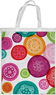 Motifs Circles Printed Shopping bag, Small Size