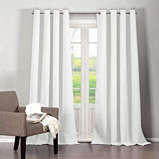 Blackout365 Quincy Solid Faux Silk Textured Blackout Darkening Grommet Top Window Curtains Pair Drapes for Bedroom, Living Room-Set of 2 Panels, W52 X L112, White