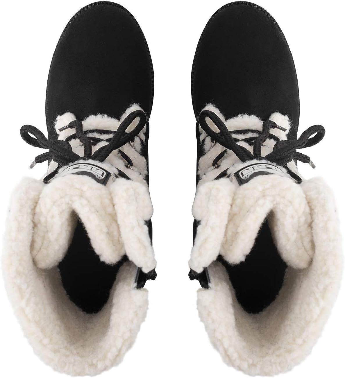 Polar Mujer Baja Tac/ón De Cu/ña Impermeable Invierno Nieve Durable Suela De Goma Ata para Arriba T/érmica Botas