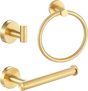 Pynsseu 304 Stainless Steel Bathroom Hardware Accessories Set Brushed Gold 3-Piece Set Includes Hand Towel Ring, Robe Towe...