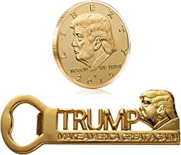 Trump Fan Gifts Donald Trump Make America Great Again Magnetic Beer Bottle Opener with Gold Plated Collectable Challenge Coin 2019