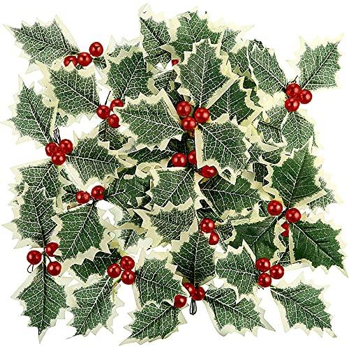 KHBNHJ - Set di 30 bastoncini artificiali a bacca rossa con foglie verdi artificiali di agrifoglio, per ghirlande di Natale, decorazioni fai da te