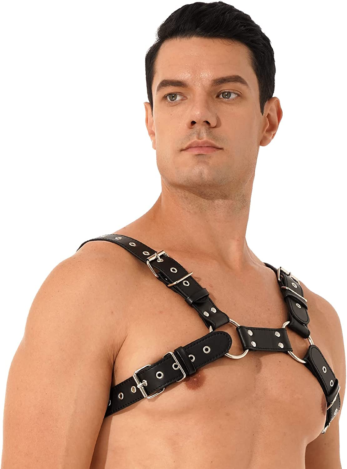 Oyolan Men Lingerie Faux Leather Harness Belt Adjustable Body Chest Harness Strap Punk Rave Costumes