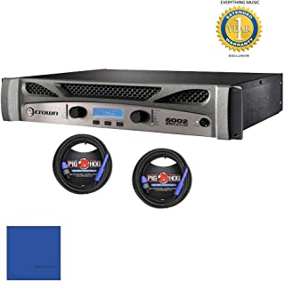 Crown XTi 6002 2-channel, 2100W 4 ohms Power Amplifier & 2 Pig Hog 25ft SPKON to 1/4' Cables Bundlewith 1 Year Free Extended WarrantyandMicrofiber