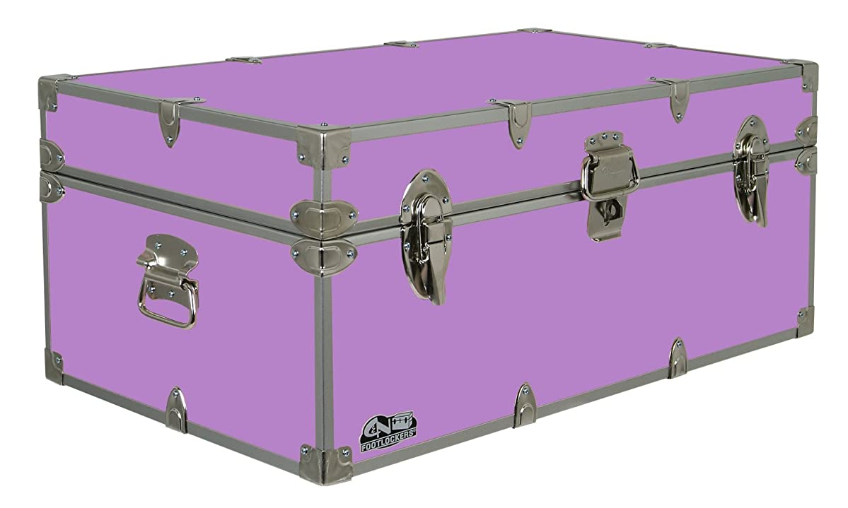 C&N Footlockers Happy Camper Storage Trunk - Summer Camp Chest - Durable with Lid Stay - 32 x 18 x 13.5 Inches (Lilac)