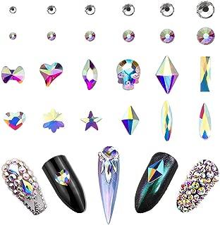 AB Crystal Rhinestones Set (1440+120 pcs) Round & Multi-Shape AB Glass Rhinestone, Nail Art Stone Gems Design Kit With Tweezers And Rhinestone Picker Pencil