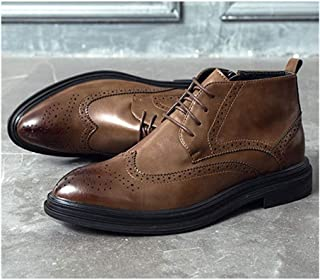 ZHANGCHANG Fashion Brogue Boot for Men Ankle Shoes Lace up Microfiber Leather Wingtip Carve Anti Slip Stylishness Classic ...