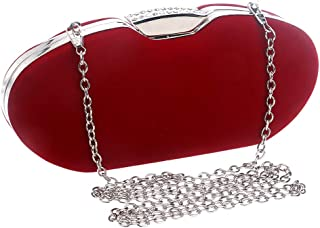 Runhuayou Women's Strong Color Suede Banquet Clutch Bags/Eventide Bag/Chain Shoulder Slung Bride Bag Red/Blue Great for Casual or Many Other Occasions Such (Color : Red)