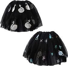 kilofly 2 pcs Girls Space Swan Ballet Tutu Princess Party Dance Tulle Skirts