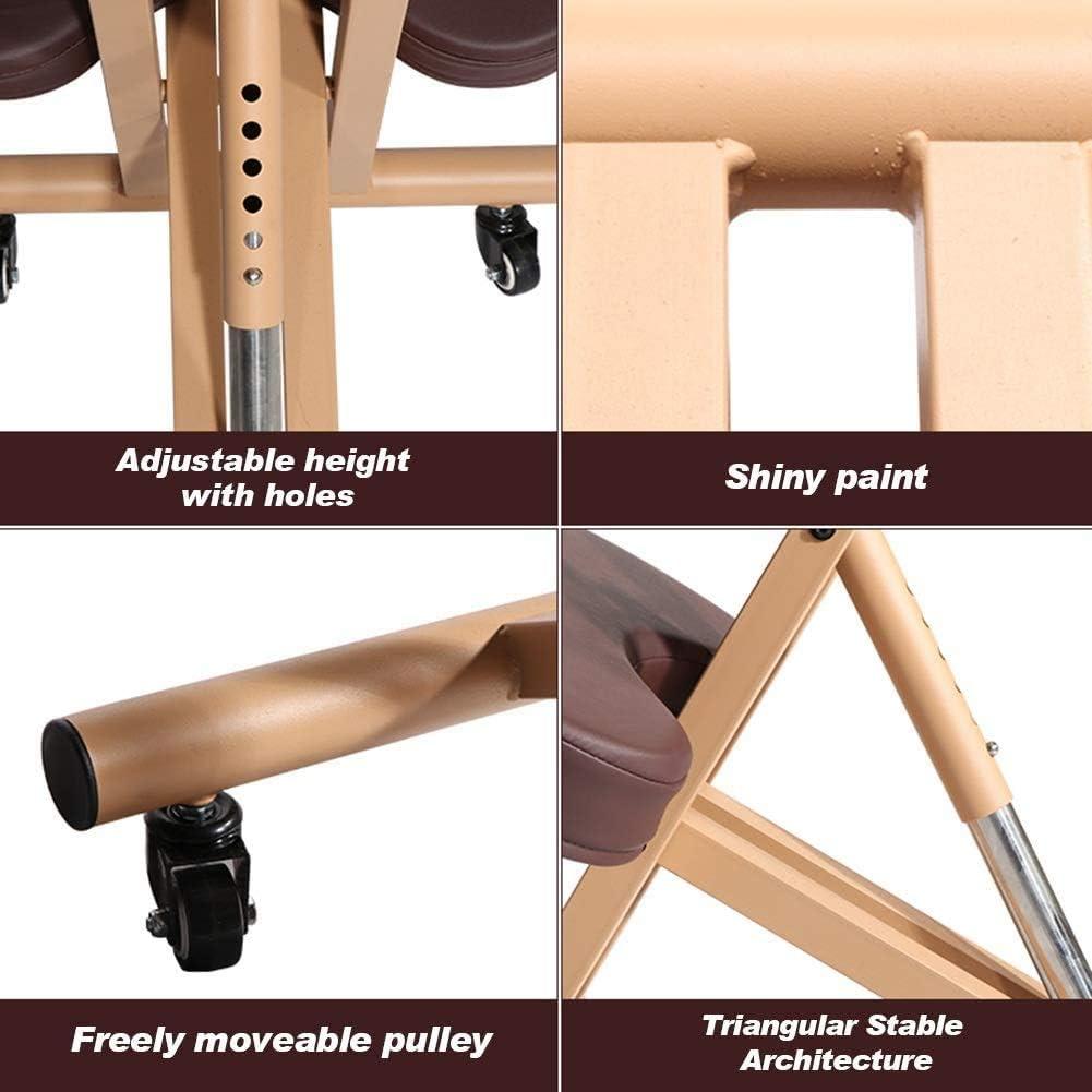 MRWW Cuir Artificiel métal du Pied réglable Tabouret Genoux, Chaise de Bureau Ergonomique, avec Correction de la Posture du Rouleau, pour Le Bureau à Domicile marron