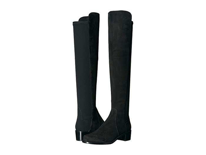 Stuart Weitzman  Reserve Knee High Boot (Black Suede/Stretch Gabardine) Womens Dress Pull-on Boots