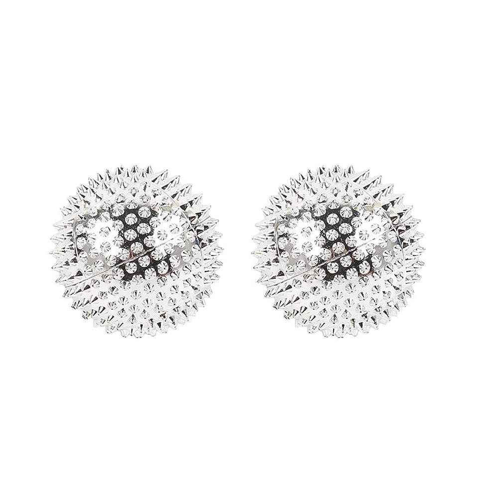 プライバシー咲く家庭教師Healifty 2本スパイシーマッサージボール磁気マッサージボールAcupointsヨガボールフィットネスボールを攪拌
