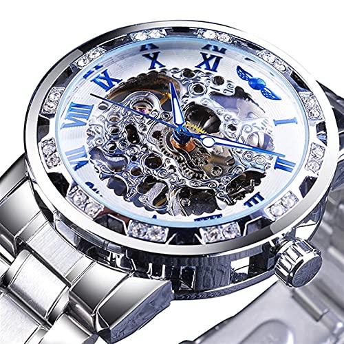 Guapo Reloj brillante para hombres elegantes, movimiento de engranajes luminoso de diamante Royal diseño de hombres de alta marca Mesculina de lujo Mecánico Mecánico Skeleton Watch Reloj de negocios