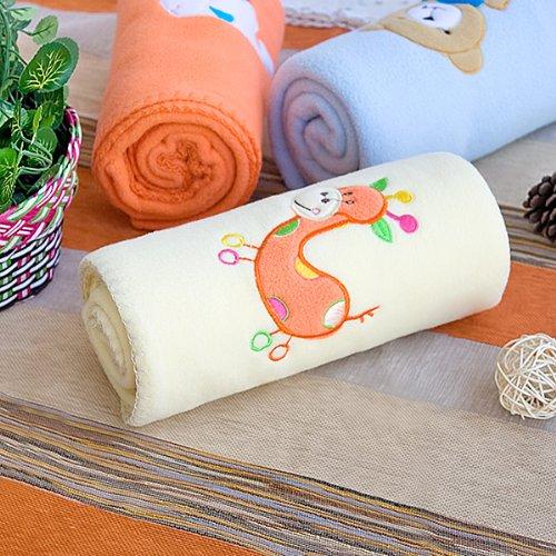 [Orange Girafe – Jaune] brodée Applique Corail Polaire Jeté de lit bébé (29,5 par 100,1 cm)
