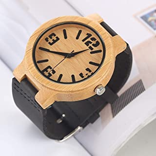 Fashion Leather Strap Watches Fashion Personality Big Round Dial Bamboo Shell Watch with Leather Strap (Color : Color11)