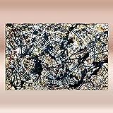 COLOROPA Cuadros Pintados a Mano sobre Lienzo Pollock Abstracto Pintura al Óleo 150X95 cm Enrollada - Durante La Plata Negro Blanco Amarillo Y Rojo,