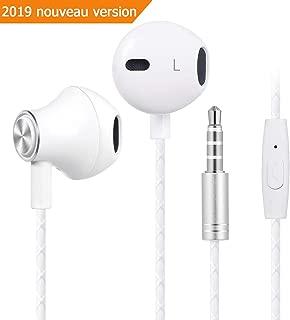 Bestfy écouteurs samsung - Intra auriculaire Oreillettes Filaires Casque Anti-Bruit avec Microphone Universel avec Jack 3,5mm, compatible pour iPhone, Samsung, Smartphones Android, MP3, (Blanc)
