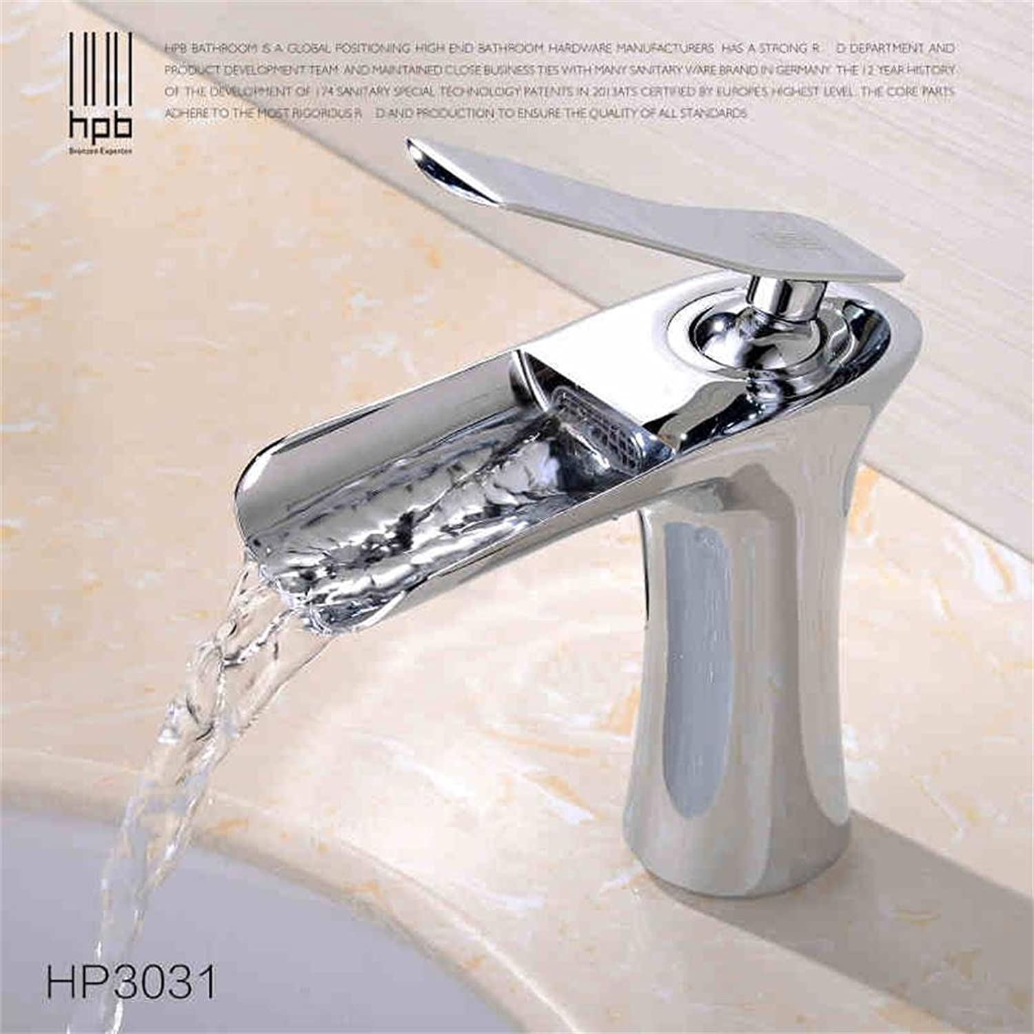 TRRE-All copper single hole hot and cold waterfall basin taps Creative