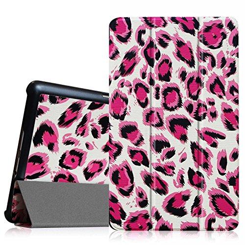 Fintie Hülle Hülle für Samsung Galaxy Tab S 8.4 - Ultra Schlank superleicht Ständer SlimShell Cover Schutzhülle Etui Tasche mit Auto Schlaf/Wach Funktion, Leopard Magenta