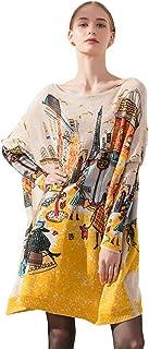 Muzboo Suéter de punto suelto con cuello de barco para mujer, de gran tamaño, con estampado casual