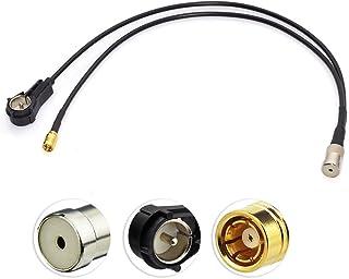 Eightwood DAB Aerial Splitter SMB Adapter naar ISO DIN Female naar Male Haakse Pigtail Kabel RG174 30cm Compatibel voor A...