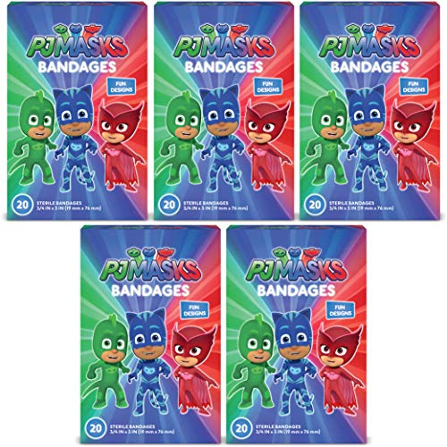 PJ Masks Kids Bandages, 100 ct | Adhesive Antibacterial Bandages for Minor Cuts, Scrapes, Burns. Great Stocking Stuffer or White Elephant