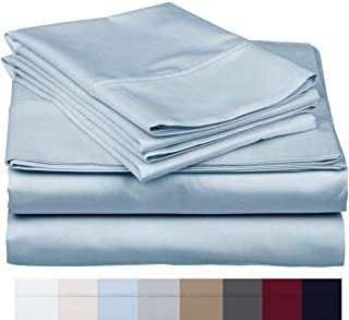 The Bishop Cotton 100% Egyptian Cotton 800 Thread Count 4 PC Solid Pattern Bed Sheet Set Italian Finish True Luxury Hotel Collection Fits Up to 16 Inches Deep Pocket (King, Sky Blue).