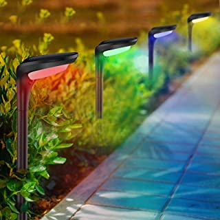 ROSHWEY Solar Lights Pathway Outdoor 4 Pack 12LED 7 Color Changing 9 Modes Waterproof Auto On/Off Wireless Solar Powered Landscape Ground Wall Spike Path lamp for Patio Lawn Yard Walkway Driveway
