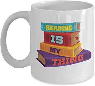 Reading Is My Thing Coffee & Tea Gift Mug for Book Lovers, Birthday Gifts for Young Women Readers (11oz)