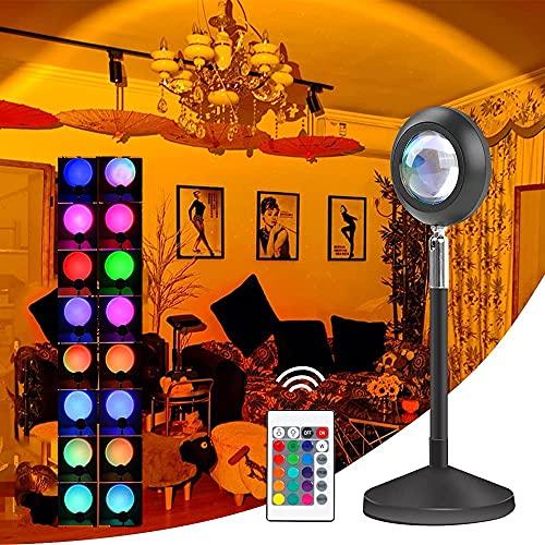 Sunset Lamp, Lámpara De Proyector De Arco Iris Giratoria De 180, Romántico Visual, Night Light Projector Dormitorio Romántico, Sala de Estar, Fiesta Familiar, Luces Decorativas USB