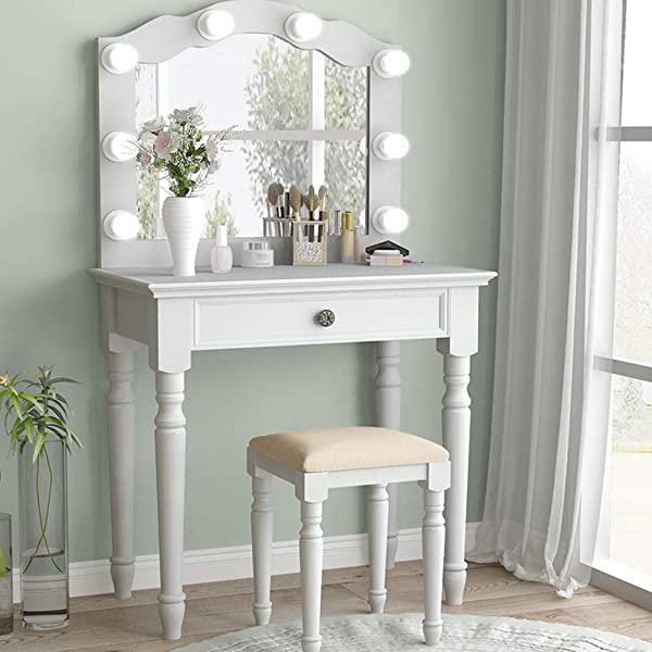 Tribesigns White Vanity Set With Lighted Mirror Makeup Dressing Table And Stool Set With Large Drawer Dresser Table Set For Women White