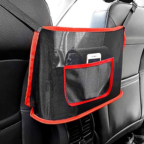 OXILAM Car Net Pocket Handbag Holder Between Seats, Car Organizers Mesh, Barrier of Backseat Pet Kids, Car Storage Bag for Purse Phone Books Documents, Driver Storage Netting Pouch