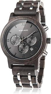 BOBO BIRD Mens Wooden Watches Luxury Wood Metal Strap Chronograph & Date Display Quartz Watch Versatile Male Timepieces