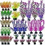 Cayway 37 Pz Plantas de Acuario Decoraciones Plantas Artificiales de Acuario, Plantas Acuáticas Artificiales para Decoración de Acuario