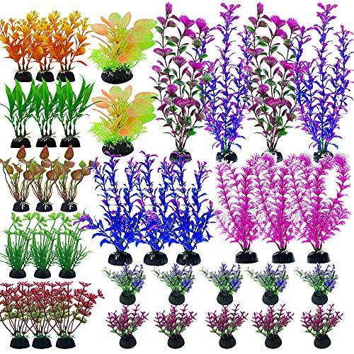 Cayway 37 PCS Plantes D'aquarium Plastique Décoration, Mixte Plantes Aquatiques Décor Plante Aquarium Artificiel pour Que Les Poissons Se Cachent Aquarium Decoration