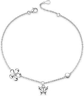 YFN Butterfly Anklet 925 Sterling Silver Butterfly Daisy Ankle Bracelet for Women Jewelry