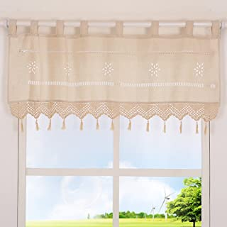ZHH Handmade Hollow Flower Cafe Curtain Linen and Cotton Crochet Lace Window Patchwork Valance 15 by 60-inch, Cream/Light Beige
