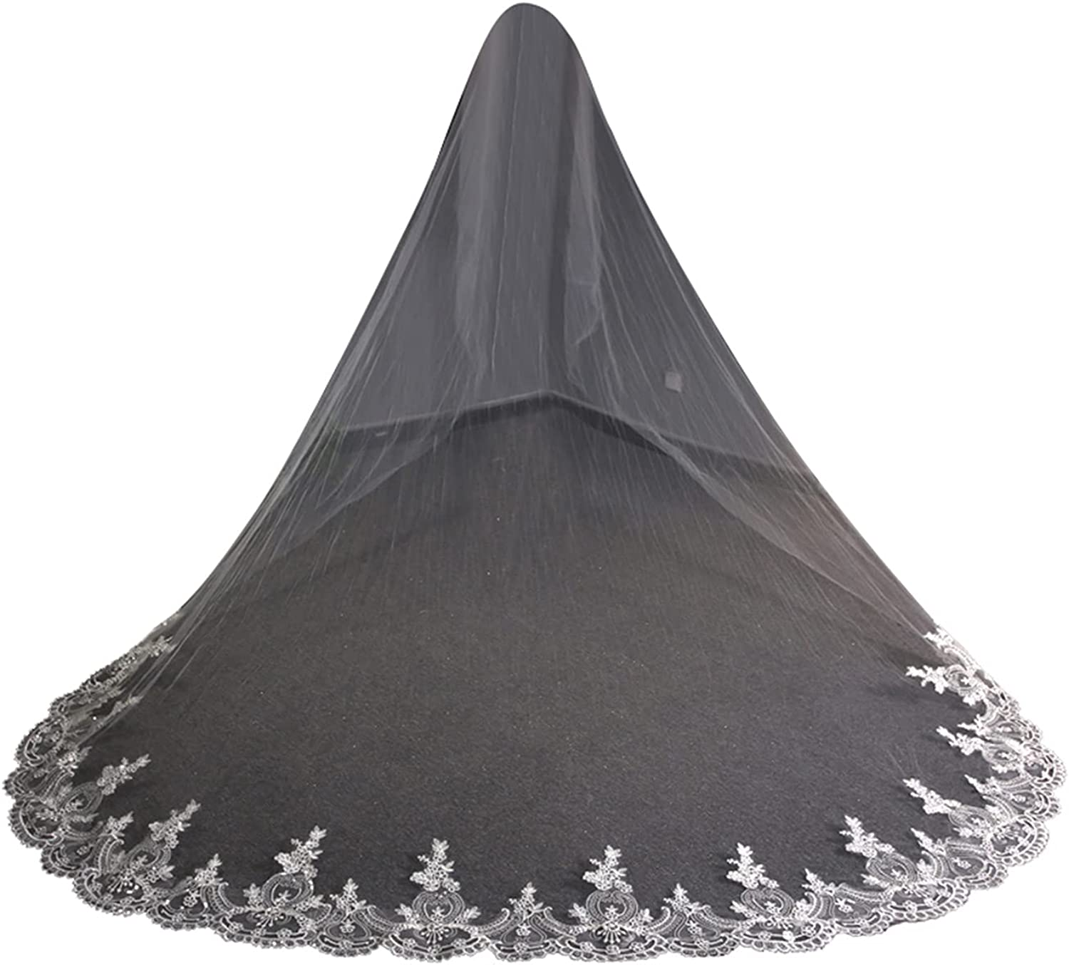 Wedding Veils Cathedral Length Ivory 1 Tier Floral Lace Edge with Comb