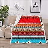 A Nice Night Boho Paisley Stripes Sherpa Fleece Blanket Twin Size Plush Throw Blanket Fuzzy Soft Blanket Microfiber (Boho-Multi, Twin(60x80 Inch))