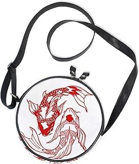 Ahomy Runde Tasche klein für Frauen – Koi Fisch Japan Stil Damen Mode Crossbody Tasche Umhängetasche