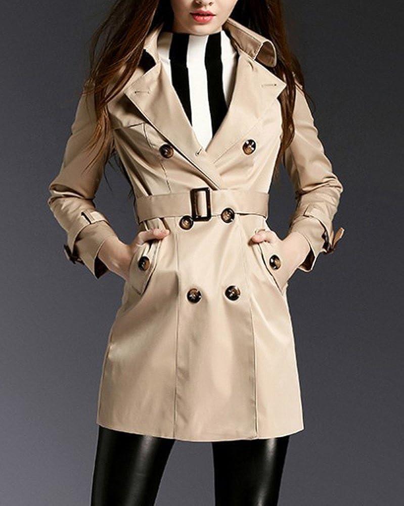 MISSMAO Damen Klassischer Mantel Trenchcoat Lang Mantel mit Gürtel Übergangs Jacke Khaki