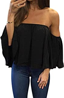 Women Summer Off Shoulder Chiffon Blouses Ruffles Short Sleeves Sexy Tops Casual T Shirts