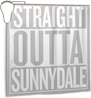 ENXIANGXIJ Waterproof Polyester Fabric Shower Curtain Straight Outta Sunnydale Buffy The Vampire Slayer White Print Decorative Bathroom Curtain with Hooks,72
