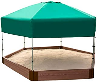 Frame It All Tool-Free Classic Sienna 7ft. x 8ft. x 5.5 in. Composite Hexagon Sandbox Kit with Telescoping Canopy/Cover - 2