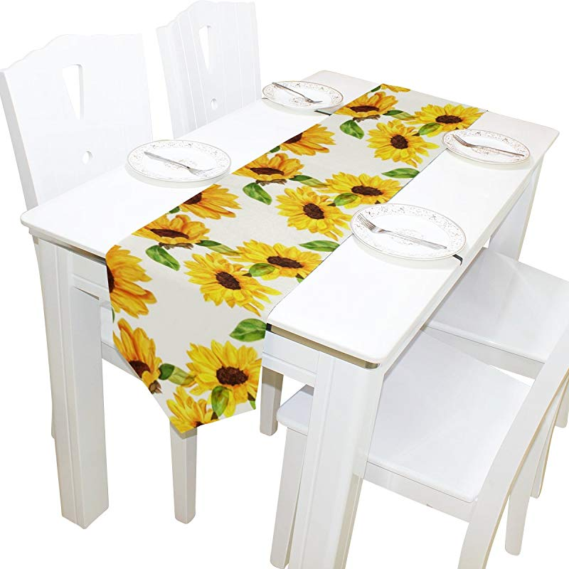 Yochoice Table Runner Home Decor Stylish Watercolor Yellow Sunflower Table Cloth Runner Coffee Mat For Wedding Party Banquet Decoration 13 X 70 Inches