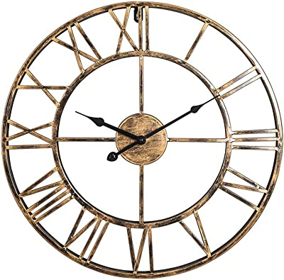 50cm Large Metal Wall Clock Antique Vintage Retro Style Home/Hotel /Bar/Office