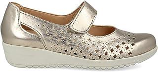 PAYMA - Mary Jane Sneaker Scarpe Casual Donna Piatte in Pelle. Chiusura in Velcro. Pelle Flessibile. Colore Champagne e Bl...