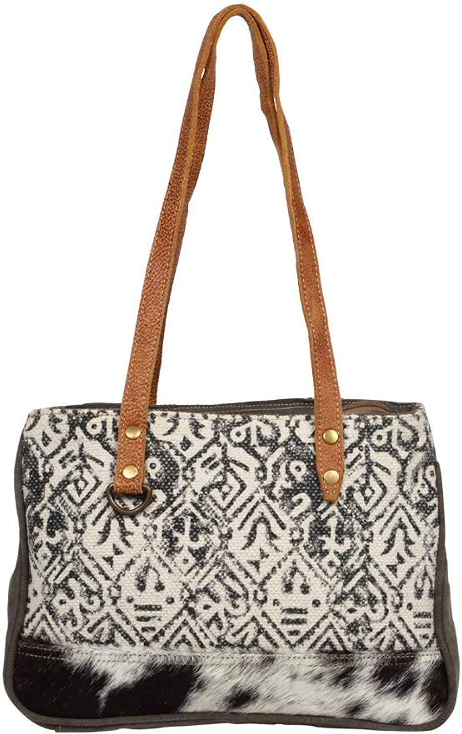 Myra Bag Spencer Upcycled Canvas & Cowhide Leather Bag S1246